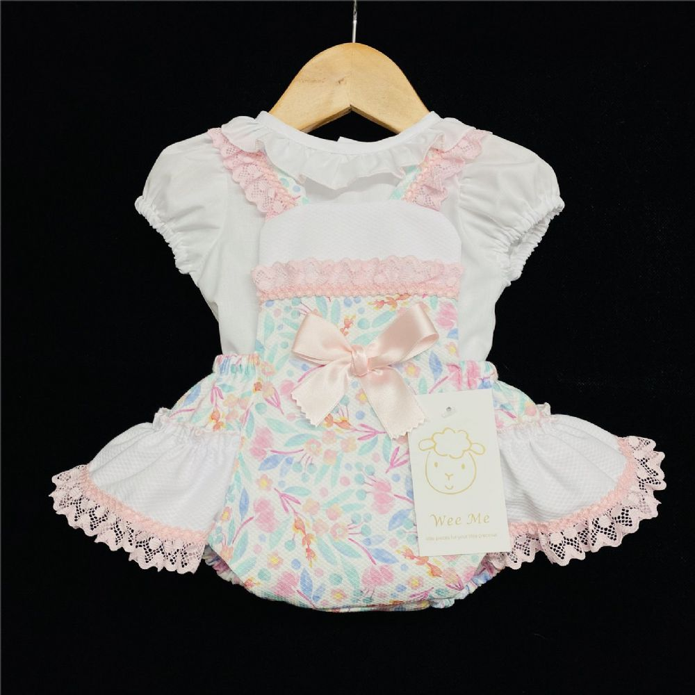 *Baby Girl Spanish Pink Floral Print Frilly Jam Pants with Frilly Collar Top